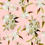 Fabric - Lilies in Pink