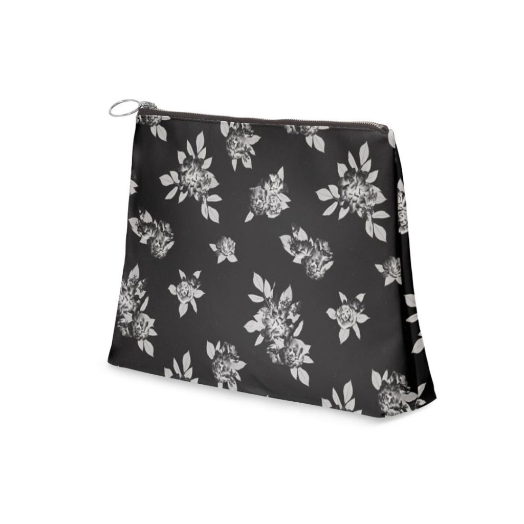 Canvas Zipper Shell Clutch - Light weight pouch (Cosmetic bag) - Flowers and Leaves (Black & White) Peony Floral Pattern - Lisa Tsukamoto Designs